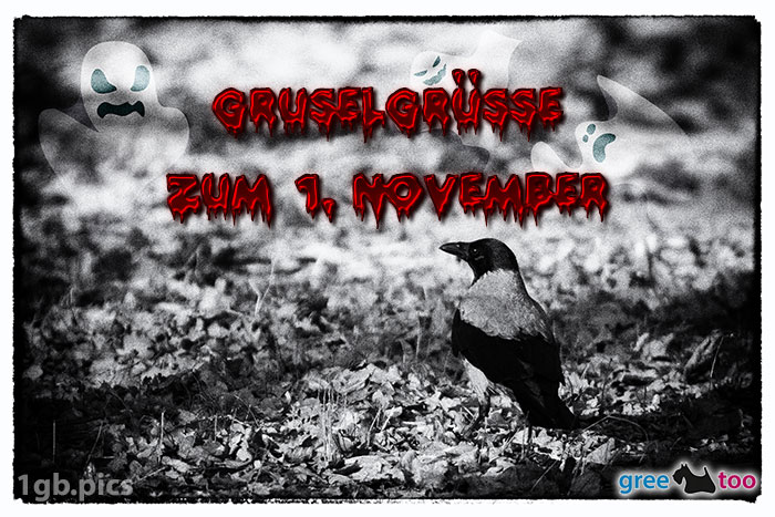 Kraehe Gruselgruesse Zum 1 November Bild - 1gb.pics