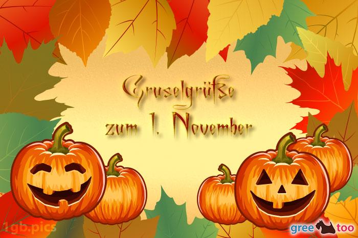 Herbstblaetter Kuerbis Gruselgruesse Zum 1 November Bild - 1gb.pics