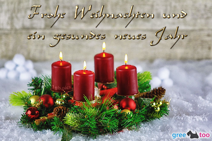 Adventskranz Rot 4 Frohe Weihnachten Gesundes Neues Jahr Bild - 1gb.pics