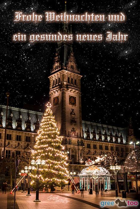 Weihnachtsrathaus Frohe Weihnachten Gesundes Neues Jahr Bild - 1gb.pics