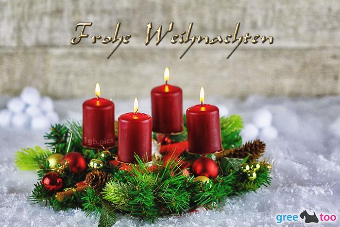 Adventskranz Rot 4 Frohe Weihnachten