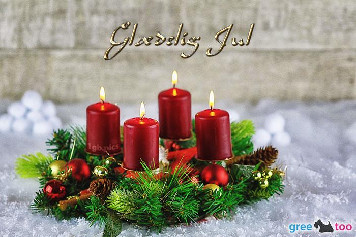 Adventskranz Rot 4 Glaedelig Jul Bild - 1gb.pics