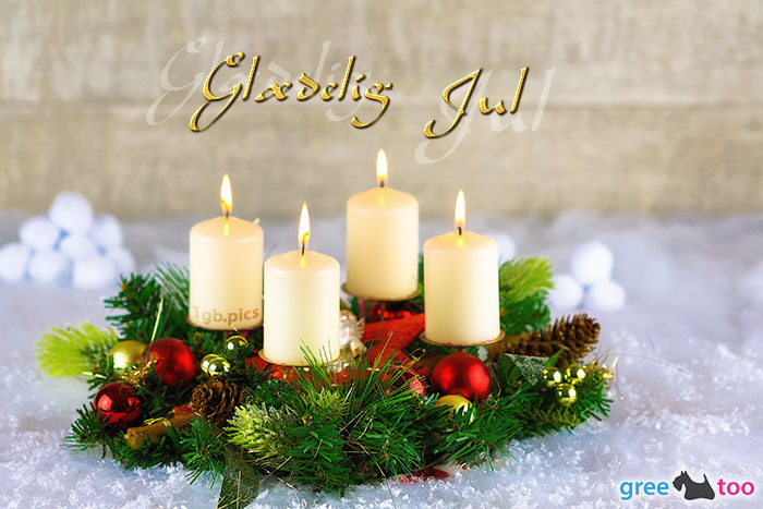 Adventskranz Beige 4 Glaedelig Jul Bild - 1gb.pics
