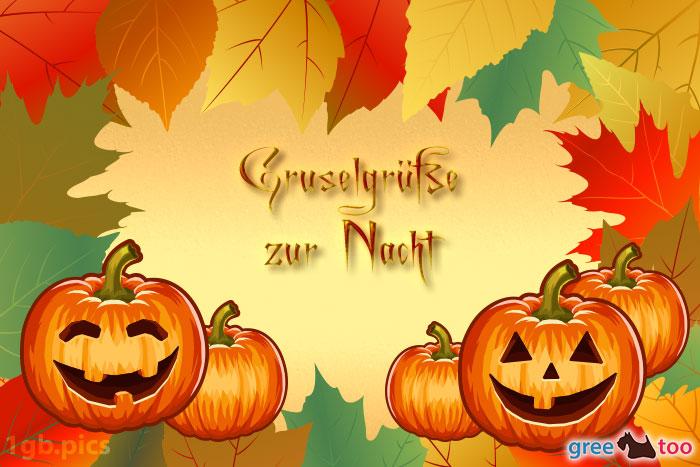 Herbstblaetter Kuerbis Gruselgruesse Zur Nacht Bild - 1gb.pics