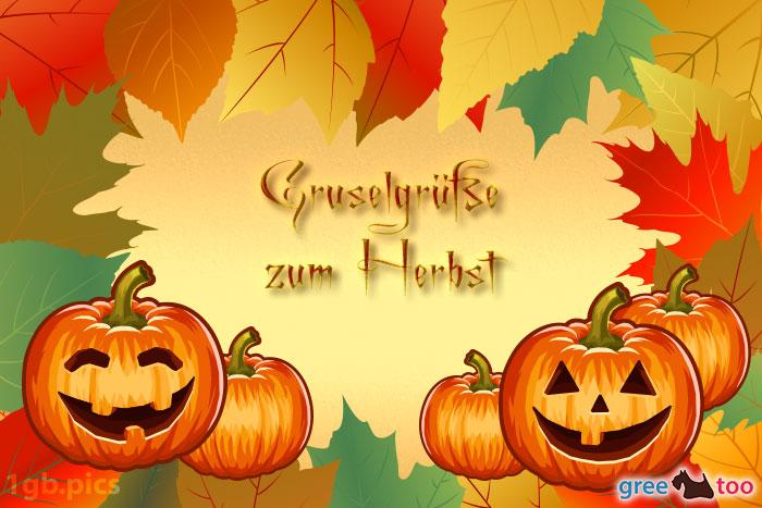 Herbstblaetter Kuerbis Gruselgruesse Zum Herbst Bild - 1gb.pics