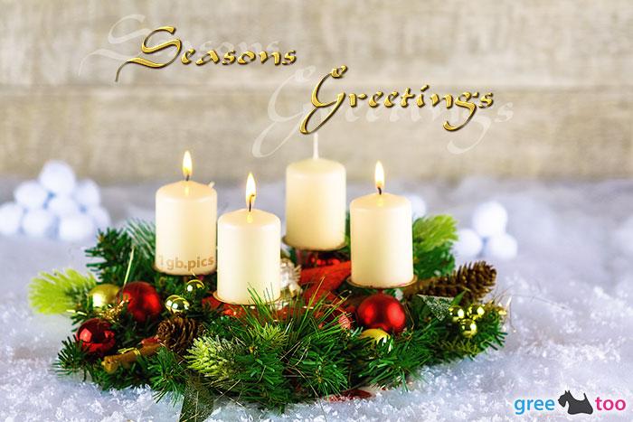 Adventskranz Beige 3 Seasons Greetings Bild - 1gb.pics